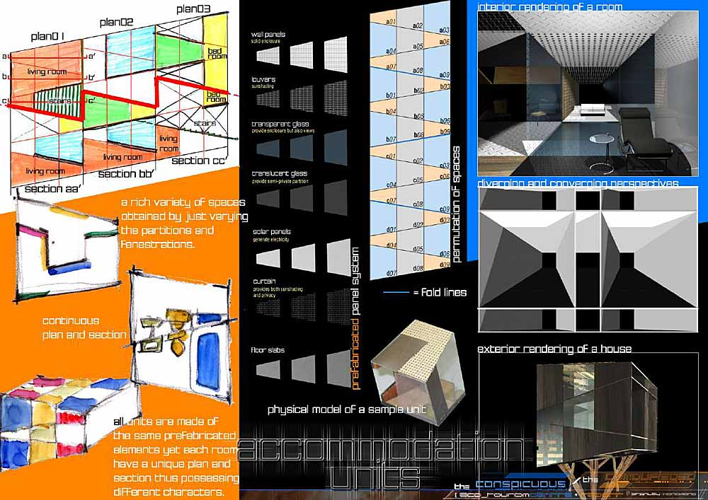 PLANSECTIONELEVATION Design Concepts Of Accommodation Units Plans And Sections Are Reciprocal Continuous Infinite Permutations Living