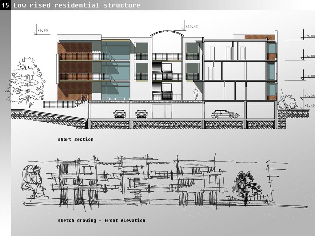 Ground Floor Elevation View : Presidents medals high density low rised residential