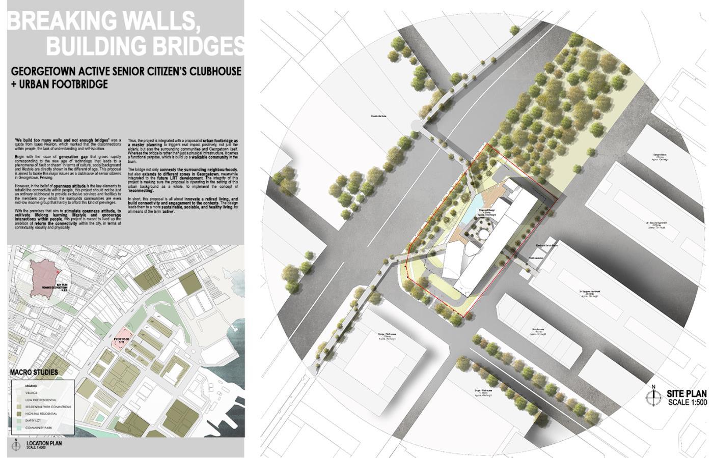 Breaking Walls, Building Bridges: Active Senior Citizen's Clubhouse + Urban Footbridge in George Town, Penang