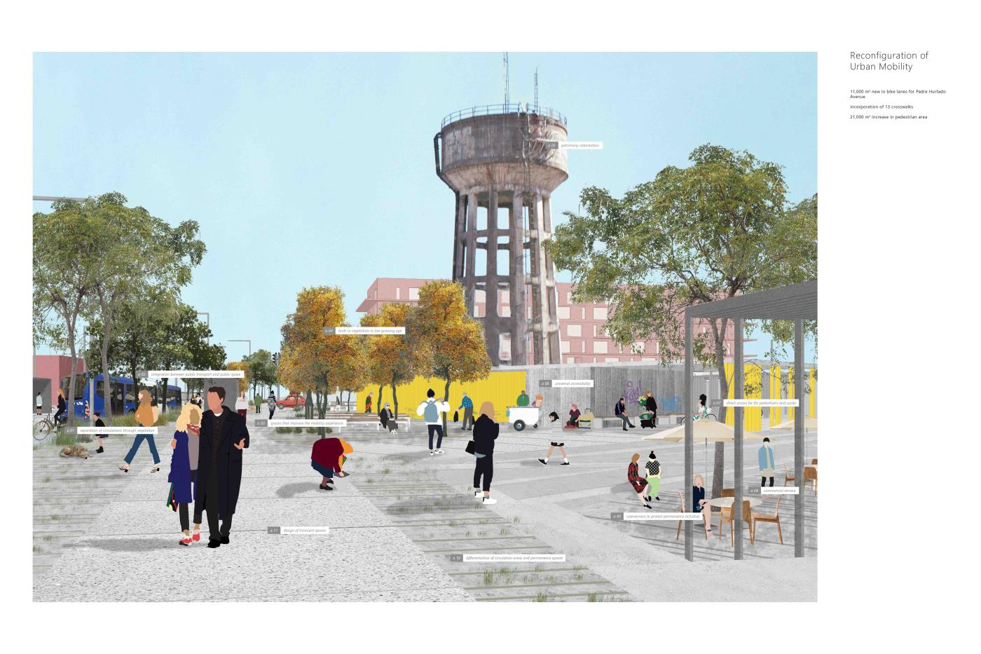 From the Infrastructure to the Promenade. Urban Design Padre Hurtado Avenue; New Public Walk for the El Bosque Commune